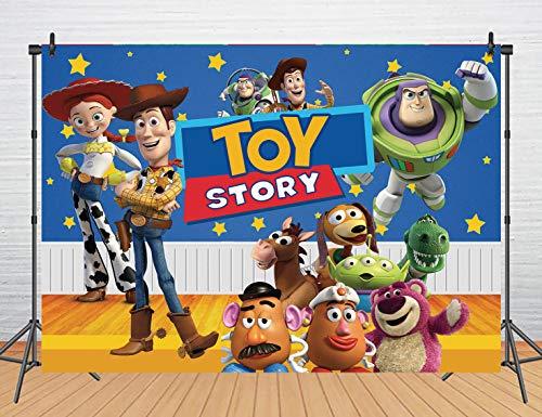 Cartoon Animal Party Backdrop Blue Starry Sky Yellow Wood Toys Story Photo Backdrop (7x5FT)