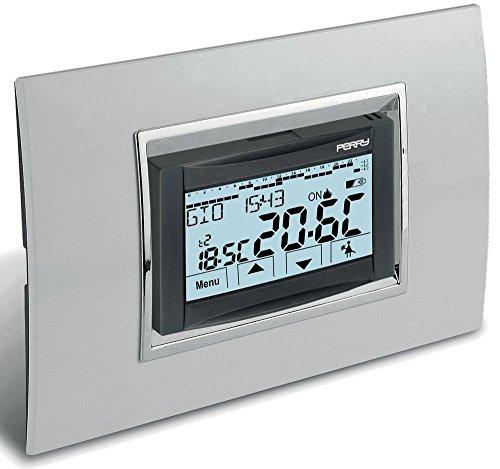 Cronotermostato da incasso modello 1CRCDS27 Perry serie Moon Touch Screen Cronotermostato settimanale touch screen 230V Display retroilluminato 3 livelli di temperature, 4 programmi preimpostati modificabili Tasto sospensione pulizie