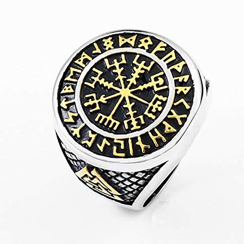 Viking Compass Ring, Men Odin's Valknut Pirate Symbol Runic Rings Stainless Steel Vegivisir Jewelry Norse Celtic Irish Scandinavian Text Amulet Size 7-13,Gold,7