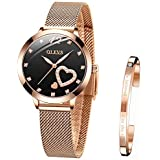 OLEVS Wrist Watches for Women Fashion Waterproof Rose Gold Steel Strip Analog Quartz Wristwatch Gifts for Ladies
