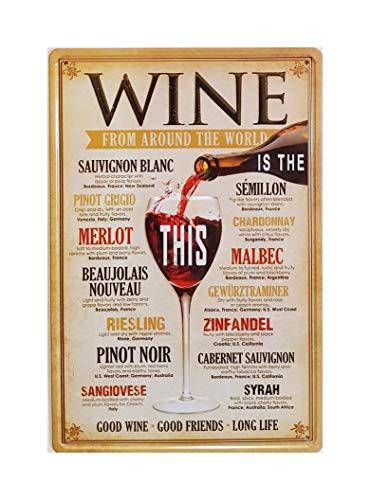 MR Blechschild Vintage Wine from Around The World, 30 x 20 cm
