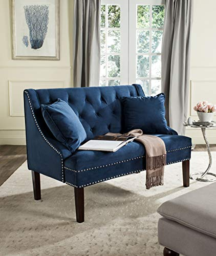 Safavieh Home Collection Zoey Navy Blue and Espresso Velvet Settee