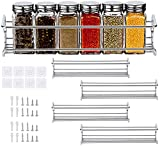 Queta Especiero de Cocina de Pared Organizador Especias Set Estantes Acero Inoxidable Etante de Almacenamiento Autoadhesivo de Especias para Armario 29x6x6cm(Plata 4 piezas)