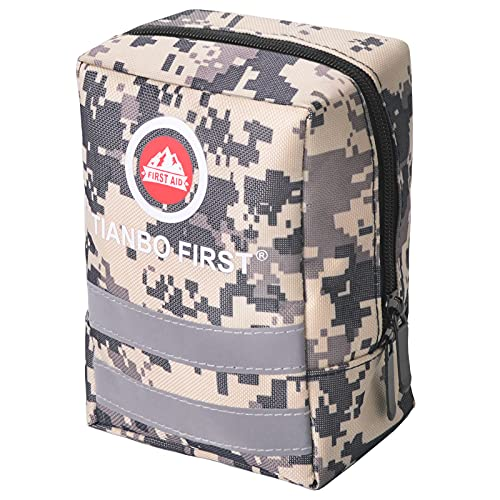 TIANBO FIRST Small First Aid Kit, 120 Pieces Personal First Aid Kit, Outdoor Emergency Survival Bag, Compact Medical Safety Case for Camping Hiking Travel Hunting Family School Car, Light Yellow Camo