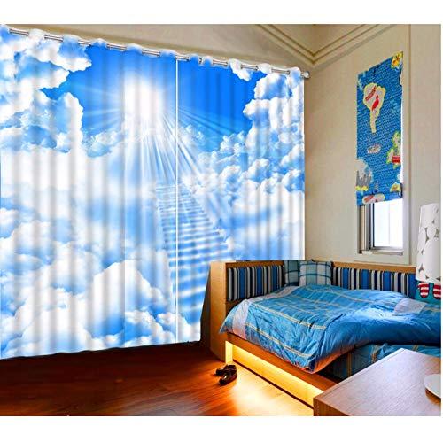 MUXIAND 3D decoratieve gordijn zon wit wolk 3D ladder badkamer gordijn verduisterende gordijn stof gordijn ontwerp