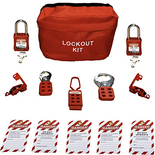 TSafe Basic Lockout Tagout Kit- with Locks, Hasps, Breaker Lockouts, and Tags- Lock Out Tag Out Loto Set