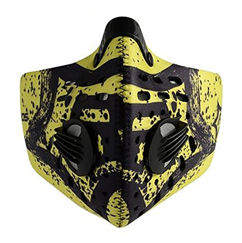 Jonty™ Green Print Neoprene PM 2.5 N95 Anti Pollution Activated Carbon Dust Face Mask with Breathing Valve