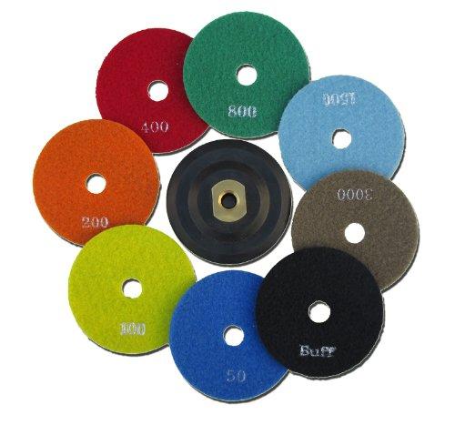 Polier Trocken-SET | 8 Pads + 100mm M14 Klett Aufnahmeteller für Winkelschleifer