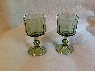 Set of 2 Green Thumbprint Stemmed Glassware, Green Glasses