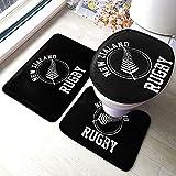 Juego de alfombras y alfombrillas de baño de Nueva Zelanda para el equipo de rugby de 3 piezas, antideslizante en forma de U, microfibra absorbente de espuma viscoelástica lavable alfombrilla de baño