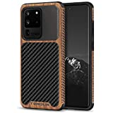 TENDLIN Compatible with Samsung Galaxy S20 Ultra Case Wood Grain with Carbon Fiber Texture Design Leather Hybrid Case