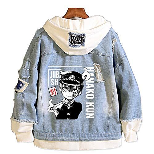 Tokisaki Toilet-Bound Hanako-kun Nene Yashiro Costume Yugi Amane Hooded Jacket Cosplay for Men Trucker Jacket Woman Denim Jacket (S, Hanako-kun -B)