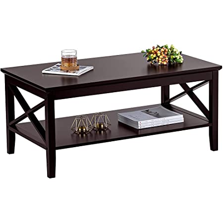 ChooChoo Oxford Coffee Table with Thicker Legs, Espresso Wood Coffee Table with Storage for Living Room 40 inches