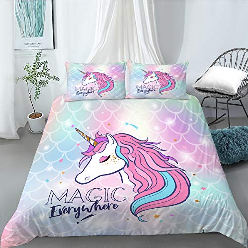MUSOLEI Magic Star Unicorn Bedding Set Single Pink Kids Duvet Cover with Pillowcase Blue Mermaid Zipper Quilt Bed Cover Soft Multi-Colour Gift(Single)