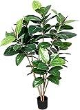 Ficus Elastica Verde - Pianta Finta Albero Artificiale da Arredo Interno - Alta 120 cm