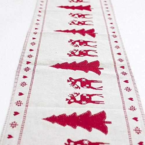 CADXDZS Nuevo Camino de Mesa navideño Papá Noel Elk muñeco de Nieve Mesa de Centro navideña decoración de Escritorio Mantel Año Nuevo decoración del hogar