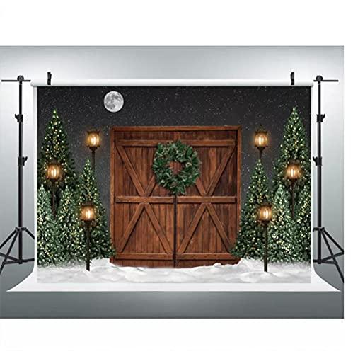 Vinilo 200X150Cm Navidad Fondo Para Fotografía Invierno Nieve Decoraciones Telón De Fondo Marrón Puerta De Madera Photocall Fondo Foto Estudio