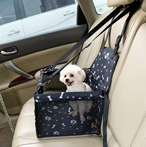 Rinsduall Hunde Autositz Auto Hundesitz für Kleine bis Mittlere Hund mit Hundesicherheitsgurt Autositzbezug Atmungsaktiv Wasserdicht Reißfest mit Aufbewahrungstasche Für Haustier Reise