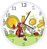 Quartz Ladybug Flowers Wall Clock