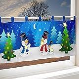 Delindo Lifestyle LED Scheibengardine SCHNEEMÄNNER für das Kinderzimmer, beleuchtete Bistrogardine für die Küche, 45x120 cm, Gardine zu Weihnachten - 3