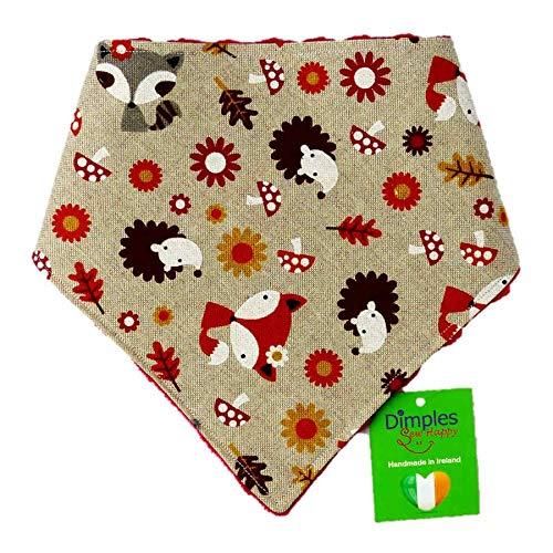 Dimples Hundehalstuch - Waldtiere Fuchs Igel - Halstuch für kleine mittlere und Grosse Hunde Welpen und Katzen - Hunde Besitzer Geschenk - Handgemachtes Hunde Accessoire 40cm