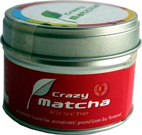 FRUTEG Matcha Pulver Kirsche 30g I Matcha-Tee-Pulver - mit leckerem Kirsch-Aroma I Grüner-Tee-Pulver aus Japan - Crazy Matcha Grüntee-Spezialität I Green Tea Powder with Cherry Flavour 30 g