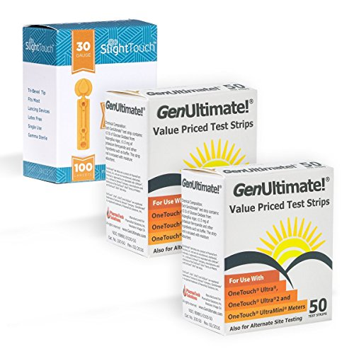 GenUltimate Blood Glucose Test Strips for Use with One Touch Ultra Meters - 100 Strips with 100 Slight Touch Lancets