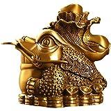 J.Mmiyi Rana del Dinero Estatua Feng Shui, Latón Tres Patas Gold Toad con Repollo Decoración para Oficina, Calentamiento De La Casa Regalo,Latón