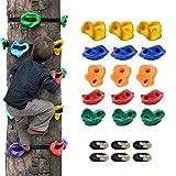 Ninja Tree Climbers, 15 presas para trepar a los árboles y 6 correas de trinquete para trepadores de niños, ideal para bastidores de escalada, casas en los árboles y paredes de escalada para niños Obs