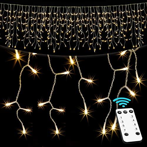 KESSER® Regenlichterkette 400 LED Lichterkette warm-weiß - inkl Fernbedienung - 8 Leuchteffekte - Timer - Dimmfunktion - In- & Outdoor Regenkette für Innen- und Außen Lichtervorhang Eisregen IP44