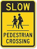 安全標識-遅い-横断歩道。 金属スズサインUV保護および耐候性、通知警告サイン