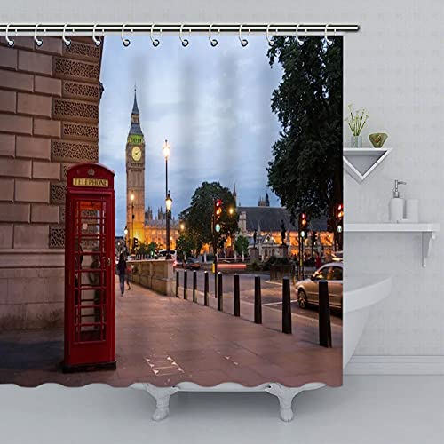 SPXUBZ Cortina de ducha europea de arquitectura edificios Big Ben Red Telefonía Cortinas de ducha impermeables de tela de poliéster con 12 ganchos para baño de 66 x 72 pulgadas