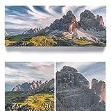 Bergpanorama Dolomiten, 3 Zinnen Südtirol - als 150x60cm große XXL Leinwand. Tolles Wandbild als Hintergr& & Deko für Wohnzimmer und Schlafzimmer. Fertig aufgespannt auf 4cm Holz-Keilrahmen