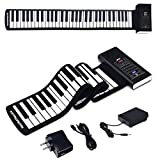 BABY JOY 61 Keys Roll Up Piano, Upgraded Electronic Piano Keyboard, Portable Piano w/Bluetooth, MP3 Headphone USB Input, MIDI OUT, 128 Rhythms, Record, Play, Volume Control (Black, 61 Keys)