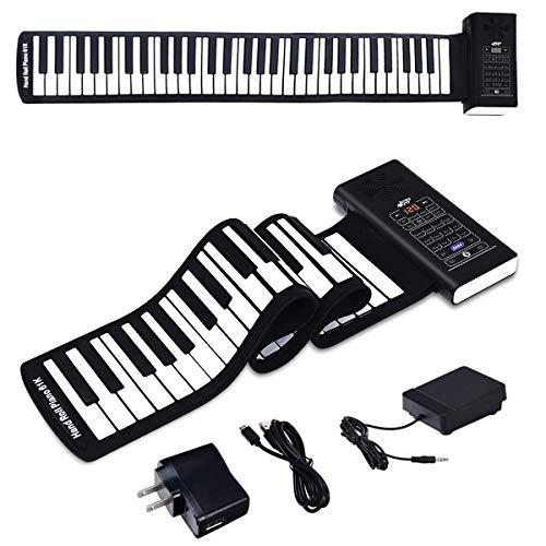 BABY JOY 61 Keys Roll Up Piano, Upgraded Electronic Piano Keyboard, Portable Piano w/Bluetooth, MP3 Headphone USB Input, MIDI OUT, 128 Rhythms, Record, Play, Volume Control (Black, 61 Keys)