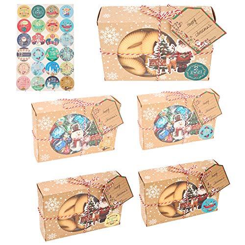 Herefun 24 Calendario de Adviento, Cajas de Regalo Navidad con 24 Pegatinas para Navidad, Bolsas de Papel Kraft navideño, Adviento Bolsa de Regalo para Navidad Decoración, Boda, Fiesta