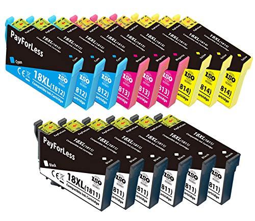 15 PayForLess 18XL Cartuchos de Tinta Compatible para Epson 18 18XL con Epson Expression Home XP 225 XP 215 XP 205 XP 322 XP 212 XP 402 XP 415 XP 422 XP 425 XP 302 XP 305 XP 325