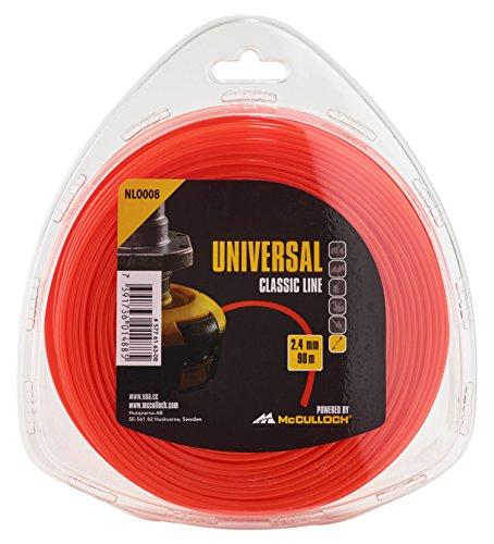 Universal GM577616308 NLO008 de Repuesto para Recortadora de césped, Longitud 90 m, Hilo Ø 2,4 mm, Nailon Resistente al desgarro, Accesorios McCulloch, Standard