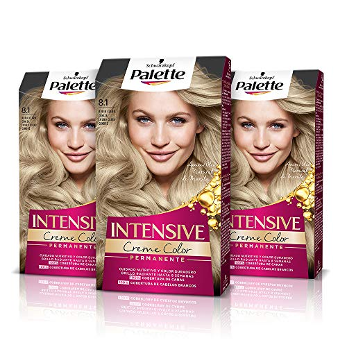 Palette Intense Cream Coloration Intensive Coloración del Cabello 8.1 Rubio Claro Ceniza - Pack de 3