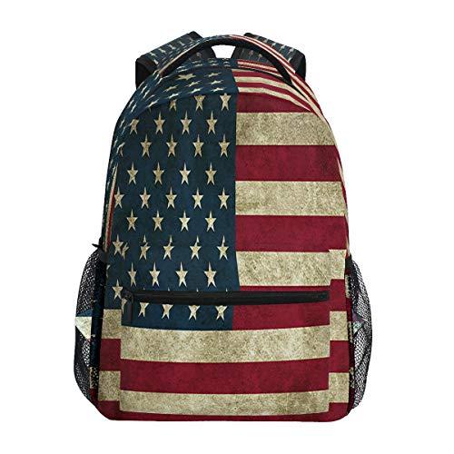 Classic 4Th of July American Flag Travel Laptop Backpack Rustic Patriotic USA Flags Boy Girl Kids School Bag Bookbag 14 inch Laptop Backpack Camping Travel Outdoor Daypack Shoulder Bag