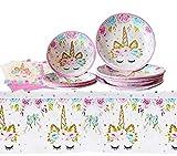 Juego de 24 Piezas Tema Cupcake Toppers Favor de la Fiesta Hilo de Baile Feliz Cumplea?os Pastel Decoraci¨n Juego Suministros para Fiestas (Unicorn 16 Guests)