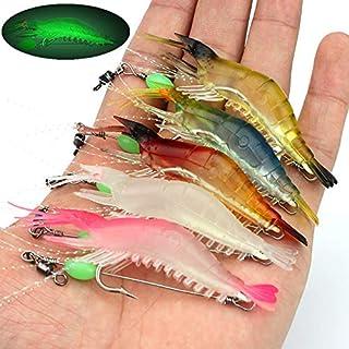 OriGlam 5pcs Soft Luminous Shrimp Lure Set, 5 Colours Shrimp Bait Shrimp Lures Fishing Kit Fishing Bait with Hooks Beads F...