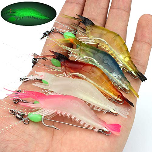 OriGlam 【Happy Shopping Day】 5pcs Soft Luminous Shrimp Lure Set, 5 Colors Shrimp Bait Shrimp Lures Fishing Bait with Hooks Beads Fishing Tackles for Freshwater Saltwater Bass Trout Catfish Salmon