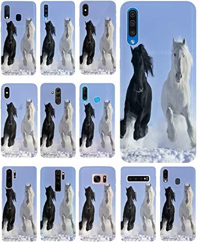 KUMO Hülle für Samsung Galaxy A7 2018 Handyhülle Design 509 Pferd Pferde Schwarz Weiß im Schnee aus flexiblem Silikon SchutzHülle Softcase HandyCover Hülle für Samsung Galaxy A7 2018