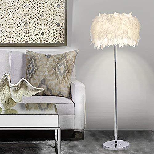 Stehleuchte, Transparenter Schatten Feder Stehlampe, Standplatz-Licht Für Schlafzimmer Wohnzimmer, Einfacher Moderner Art (6W, Weiß, Fußschalter, Warmes Licht E27 Lampenfassung)