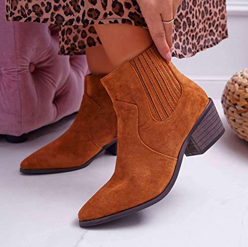 MTHDD Westernstiefel für Damen, Spitzer Zehenbereich, Chelsea-Stiefel, Vintage, Cowboy, Stiefeletten,Braun,41