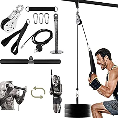 LAT Pull Down Machine Fitness Cable System Wrist Trainer Arm Strength Training Equipment for Triceps Pull Down, Bicep Curls, Triceps Extensions Fitness Workout (Handle+Straight)
