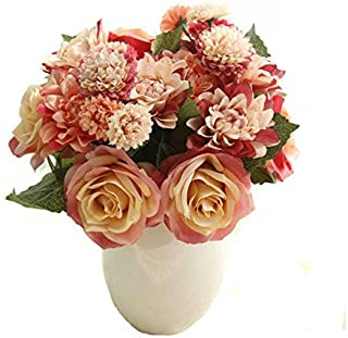 Celine lin 1 Bunch 8 Pcs Artificial Rose Dahlia Daisy Flower Bouquet Bride Bridesmaid Holding Flowers For Home Hotel Office Wedding Party Garden Craft Art D¨¦cor,Red&Orange