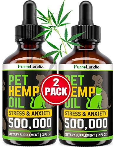 (2 Pack) Hemp Oil for Dogs - 500,000 - Separation Anxiety, Joint Pain, Stress & Inflammation Relief - Pet Hemp Oil Calming Drops - Dog Calming Aid - Rich in Omega 3-6-9 | Made in USA (2 PACK)