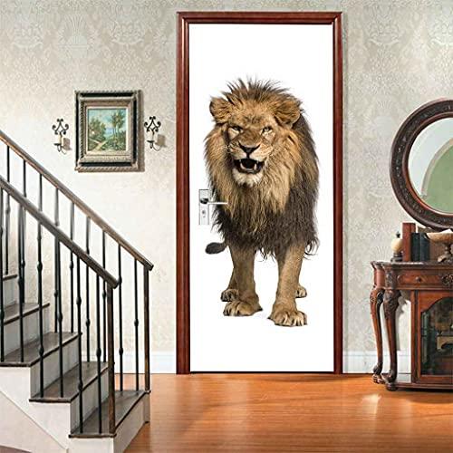 CBWRAW 3D Pegatinas De Puerta Cuadro León Animal Dorado 77x200cm Puerta Mural Póster Autoadhesivo Impermeable Vinilo Puerta Etiqueta Papel Tapiz Foto Para Sala De Estar Dormitorio Arte Decoración